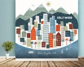 Colourful Los Angeles mural wallpaper in-room view