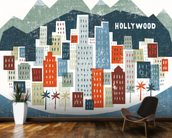 Colourful Los Angeles mural wallpaper kitchen preview