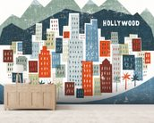 Colourful Los Angeles mural wallpaper living room preview