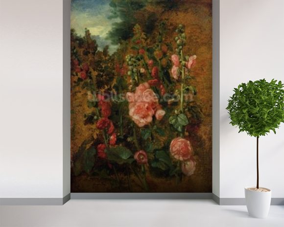 Study of Hollyhocks, c.1826 (oil on board) wallpaper mural room setting