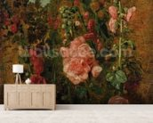 Study of Hollyhocks, c.1826 (oil on board) wallpaper mural living room preview