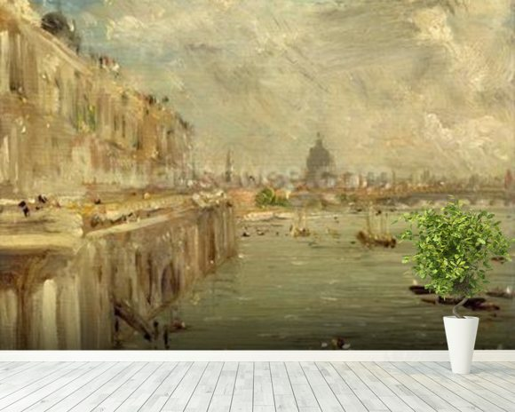 Somerset House Terrace from Waterloo Bridge, c.1819 (oil on panel) wallpaper mural room setting