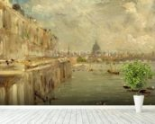 Somerset House Terrace from Waterloo Bridge, c.1819 (oil on panel) wallpaper mural in-room view