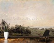 Hampstead Heath, looking towards Harrow, 1821-22 (oil on paper laid on canvas) mural wallpaper kitchen preview