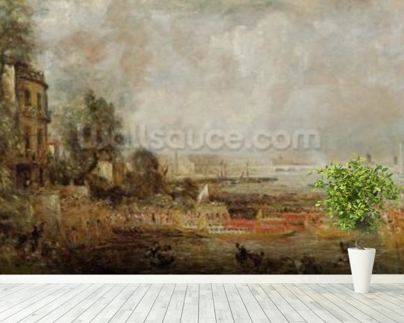 The Opening of Waterloo Bridge, c.1829-31 (oil on canvas) wall mural room setting