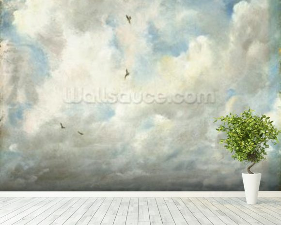 Cloud Study, 1821 (oil on paper laid down on board) wallpaper mural room setting