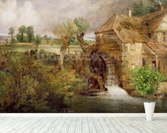 Mill at Gillingham, Dorset, 1825-26 (oil on canvas) mural wallpaper room setting