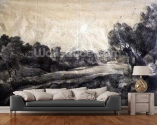 A Dell, c.1805 (black chalk on buff paper) wallpaper mural