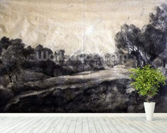 A Dell, c.1805 (black chalk on buff paper) wallpaper mural room setting