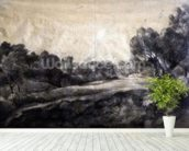 A Dell, c.1805 (black chalk on buff paper) wallpaper mural in-room view