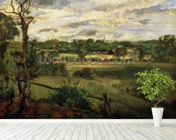 View of Highgate from Hampstead Heath, c.1834 (oil on cardboard) wall mural room setting