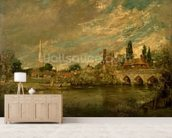 The Bridge of Harnham and Salisbury Cathedral, c.1820 mural wallpaper living room preview