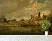 The Bridge of Harnham and Salisbury Cathedral, c.1820 mural wallpaper in-room view