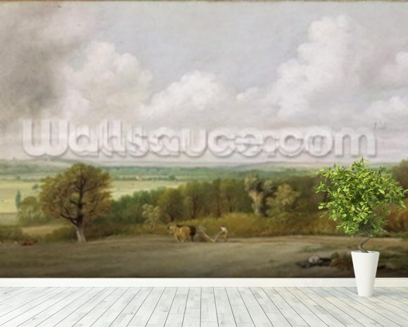 Landscape: Ploughing Scene in Suffolk (A Summerland) c.1824 (oil on canvas) wall mural room setting