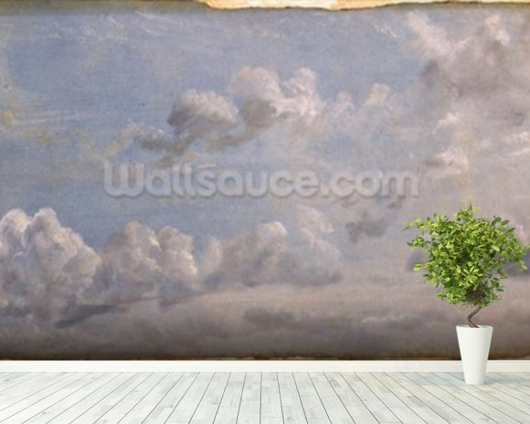 Study of Cumulus Clouds, 1822 (oil on paper laid down on panel) wallpaper mural room setting