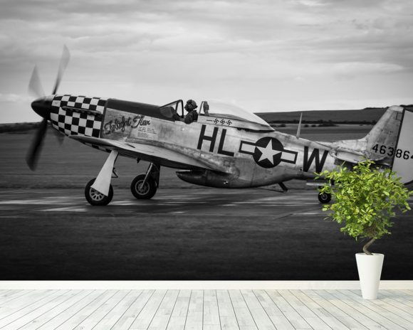 P51 Mustang wallpaper mural room setting