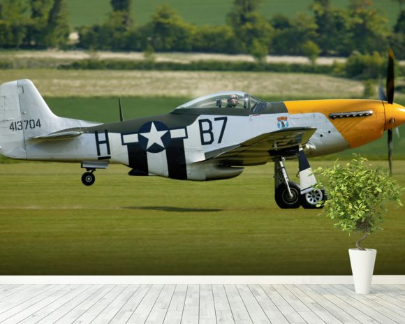 P51 Mustang Ready for Action mural wallpaper room setting