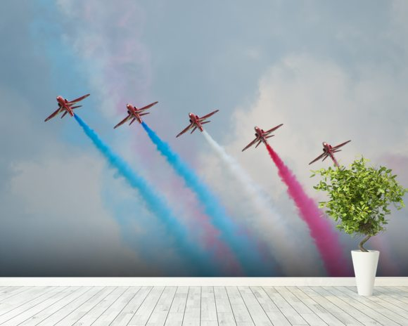 Red Arrows wallpaper mural room setting