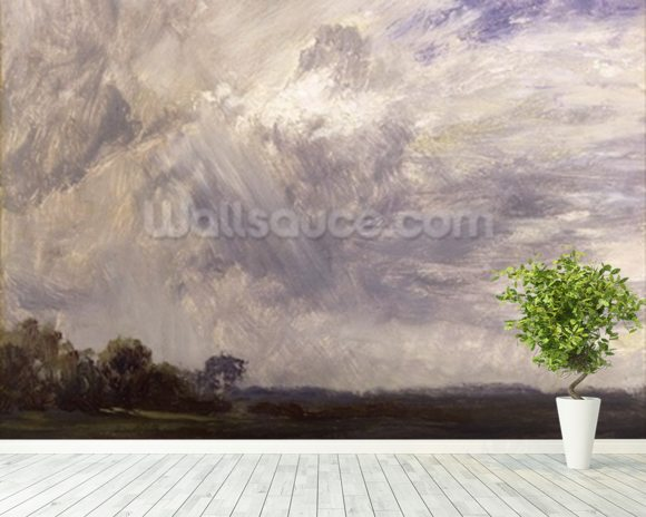 Landscape with Grey Windy Sky, c.1821-30 (oil on paper laid down on millboard) wall mural room setting