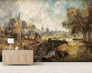 Dedham Lock, c.1820 (oil on canvas laid down on panel) wallpaper mural
