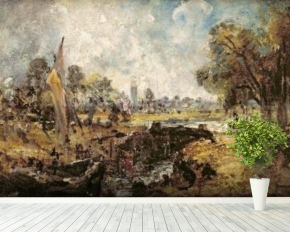 Dedham Lock, c.1820 (oil on canvas laid down on panel) wallpaper mural room setting