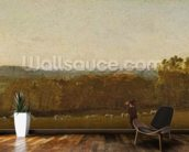 A Shepherd in a Landscape looking across Dedham Vale towards Langham, c.1810 (oil on paper laid on canvas) wall mural kitchen preview