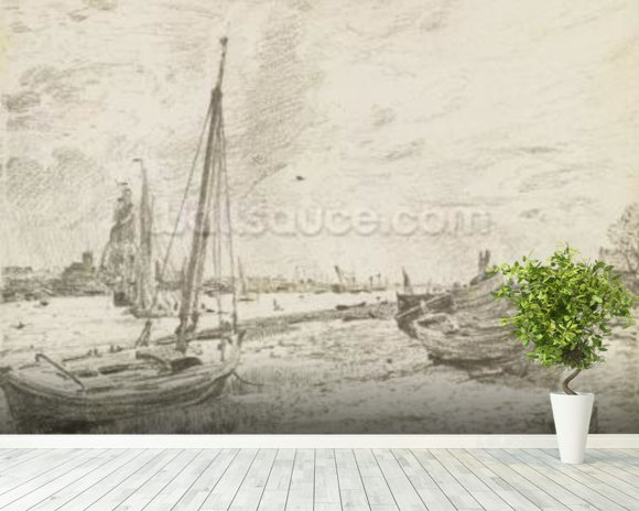 Shipping on the Thames, c.1818 (graphite on paper) mural wallpaper room setting