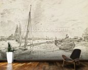 Shipping on the Thames, c.1818 (graphite on paper) mural wallpaper kitchen preview