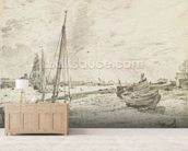 Shipping on the Thames, c.1818 (graphite on paper) mural wallpaper living room preview