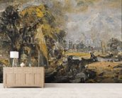 Dedham Lock, c.1819 (oil on paper laid on canvas) wallpaper mural living room preview