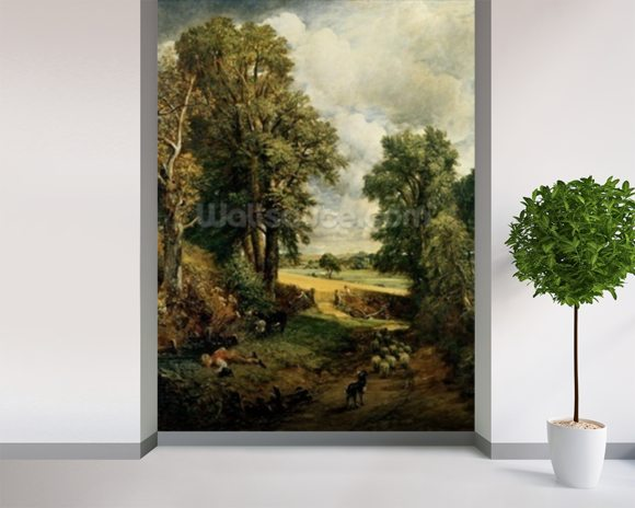 The Cornfield, 1826 (oil on canvas) wallpaper mural room setting