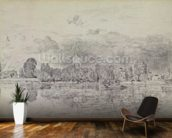 Fulham church from across the River, 1818 (graphite on paper) wall mural kitchen preview
