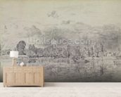Fulham church from across the River, 1818 (graphite on paper) wall mural living room preview