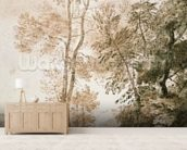 Trees and Deer, after Claude, 1825 (pen & ink with wash on paper) wallpaper mural living room preview