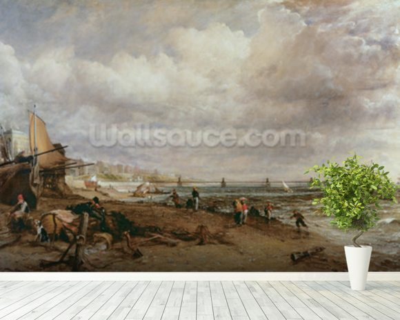 Marine Parade and Old Chain Pier, 1827 (oil on canvas) mural wallpaper room setting