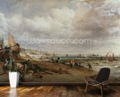 Marine Parade and Old Chain Pier, 1827 (oil on canvas) mural wallpaper kitchen preview