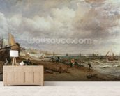 Marine Parade and Old Chain Pier, 1827 (oil on canvas) mural wallpaper living room preview