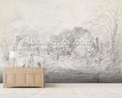 A Bridge near Salisbury Court, c.1829 (graphite on paper) wallpaper mural living room preview