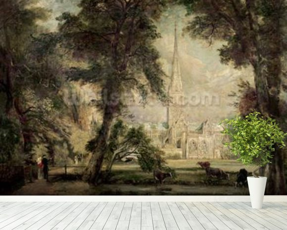 Salisbury Cathedral from the Bishops Grounds, c.1822-23 (oil on canvas) wall mural room setting