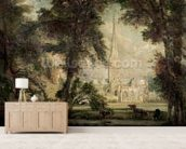 Salisbury Cathedral from the Bishops Grounds, c.1822-23 (oil on canvas) wall mural living room preview