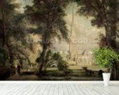 Salisbury Cathedral from the Bishops Grounds, c.1822-23 (oil on canvas) wall mural in-room view
