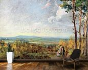 Hampstead Heath Looking Towards Harrow, 1821 (oil on paper laid on canvas) wall mural kitchen preview