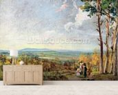 Hampstead Heath Looking Towards Harrow, 1821 (oil on paper laid on canvas) wall mural living room preview