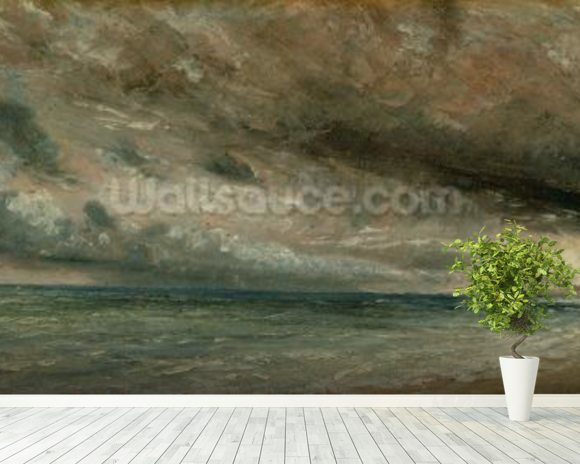 The Coast at Brighton - Stormy Evening, c.1828 (oil on paper laid on canvas) mural wallpaper room setting