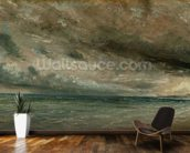 The Coast at Brighton - Stormy Evening, c.1828 (oil on paper laid on canvas) mural wallpaper kitchen preview