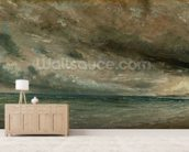 The Coast at Brighton - Stormy Evening, c.1828 (oil on paper laid on canvas) mural wallpaper living room preview