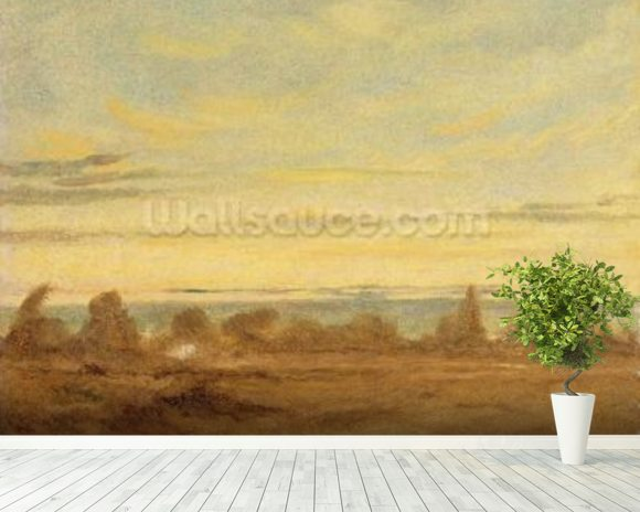 Summer - Evening Landscape (oil on canvas) wall mural room setting