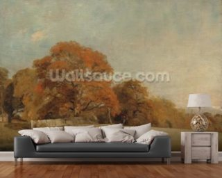 An Autumnal Landscape at East Bergholt, c.1805-08 (oil on canvas) wall mural