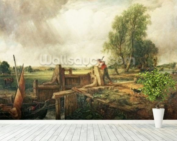 A Boat Passing a Lock (oil on canvas) mural wallpaper room setting