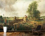 A Boat Passing a Lock (oil on canvas) mural wallpaper kitchen preview